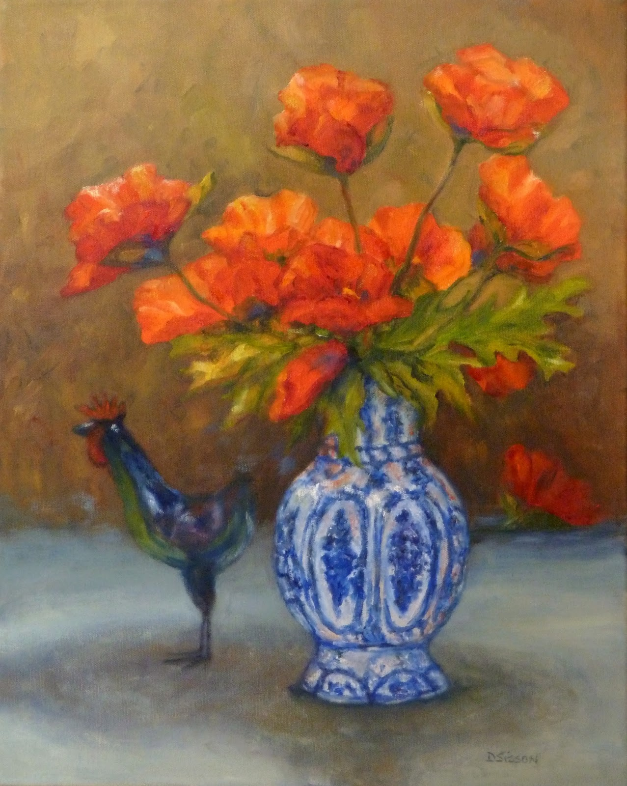 Daily painting projects poppies with blue vase oil painting flowers poppies with blue vase oil painting flowers mightylinksfo
