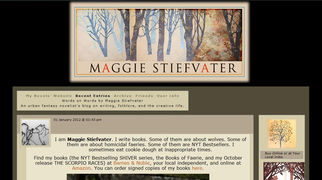 Maggie Stiefvater's Blog. Maggie Stiefvater writes young adult novels, ...