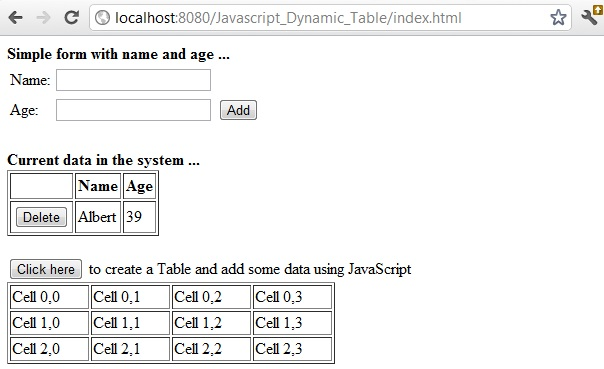 Dynamically generate html table using javascript for Html program for table