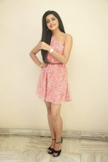 Actress Avanthika  Pictures in Pink Short Dress at Maaya Movie Logo Launch  106