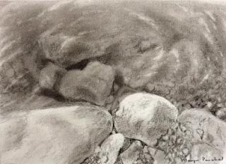 original charcoal sketching of rocks under water by Manju Panchal