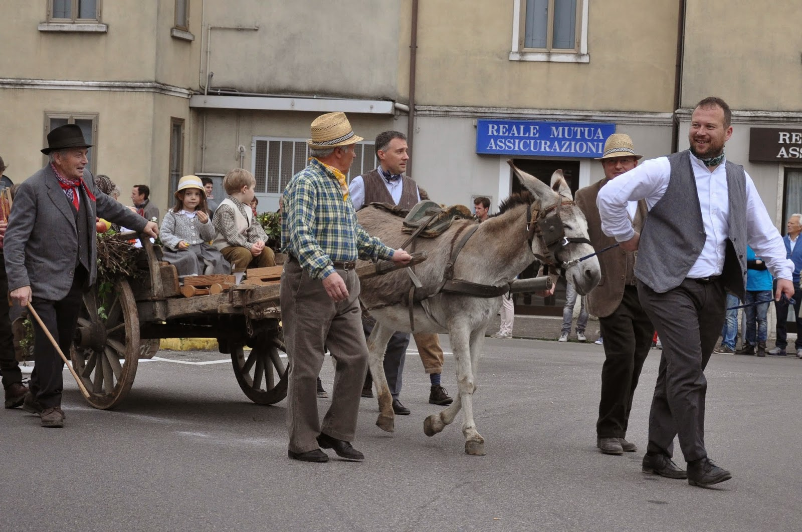A donkey cart at the Parade, Donkey Race, Romano d'Ezzelino, Veneto, Italy