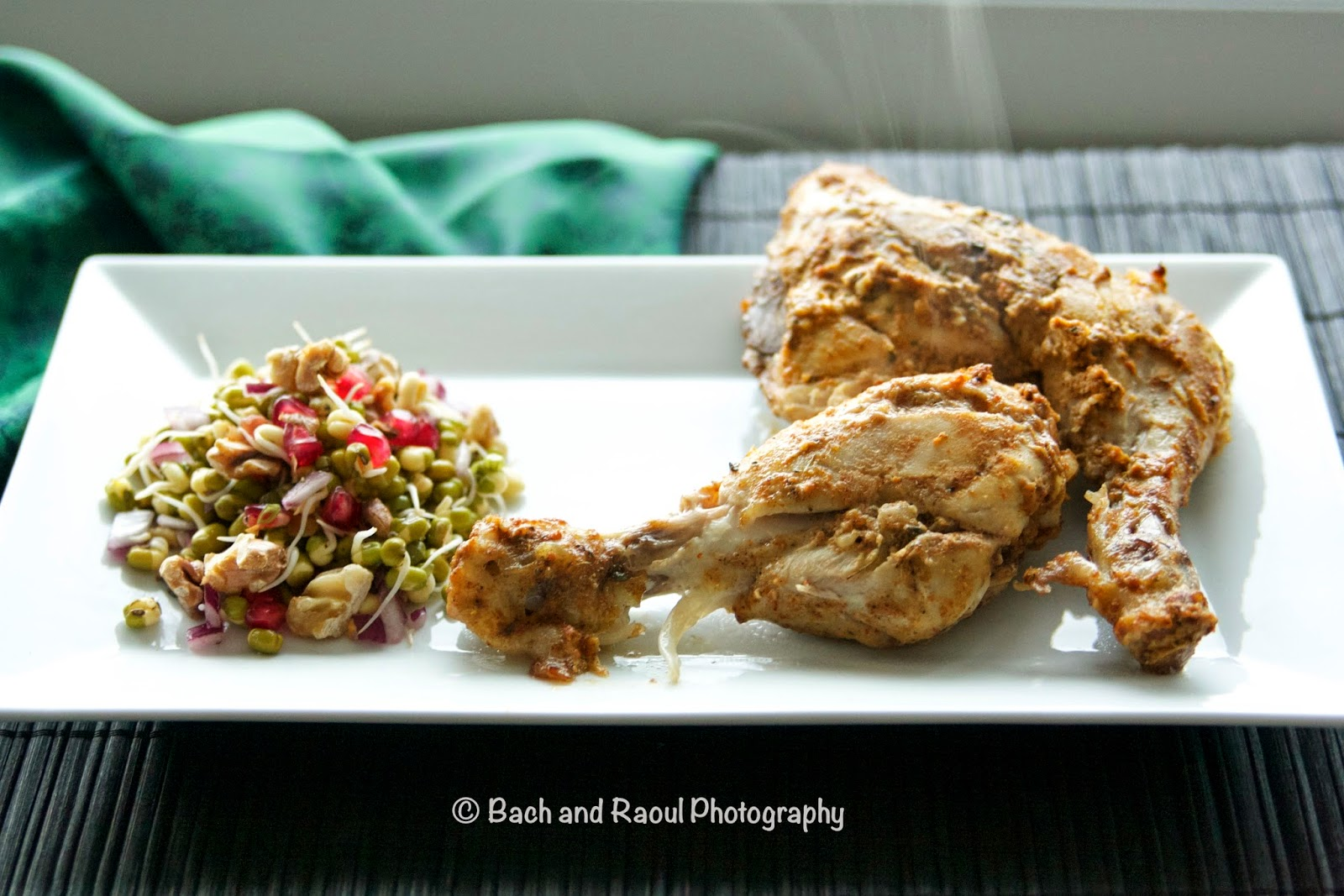 Tandoori Chicken with a side of mung bean sprouts salad with pomegranate seeds and walnuts
