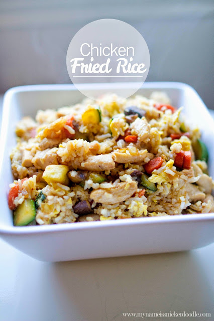 Super easy and delicious Chicken Fried Rice recipe.  Perfect for using leftover rice!     mynameissnickerdoodle.com