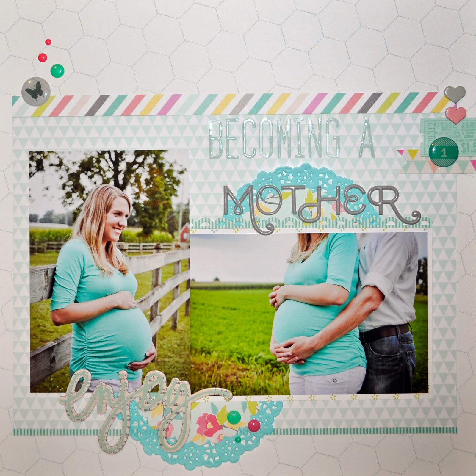 12x12 scrapbook page example inspiration unisex surprise baby pregnancy pregnant expecting boy girl due date banner bunting maternity nursery belly bump white chicken wire vintage rustic fence bright blue aqua teal pink grey becoming a mother mom parent doily doilies floral flowers stripes enamel dots first child butterfly