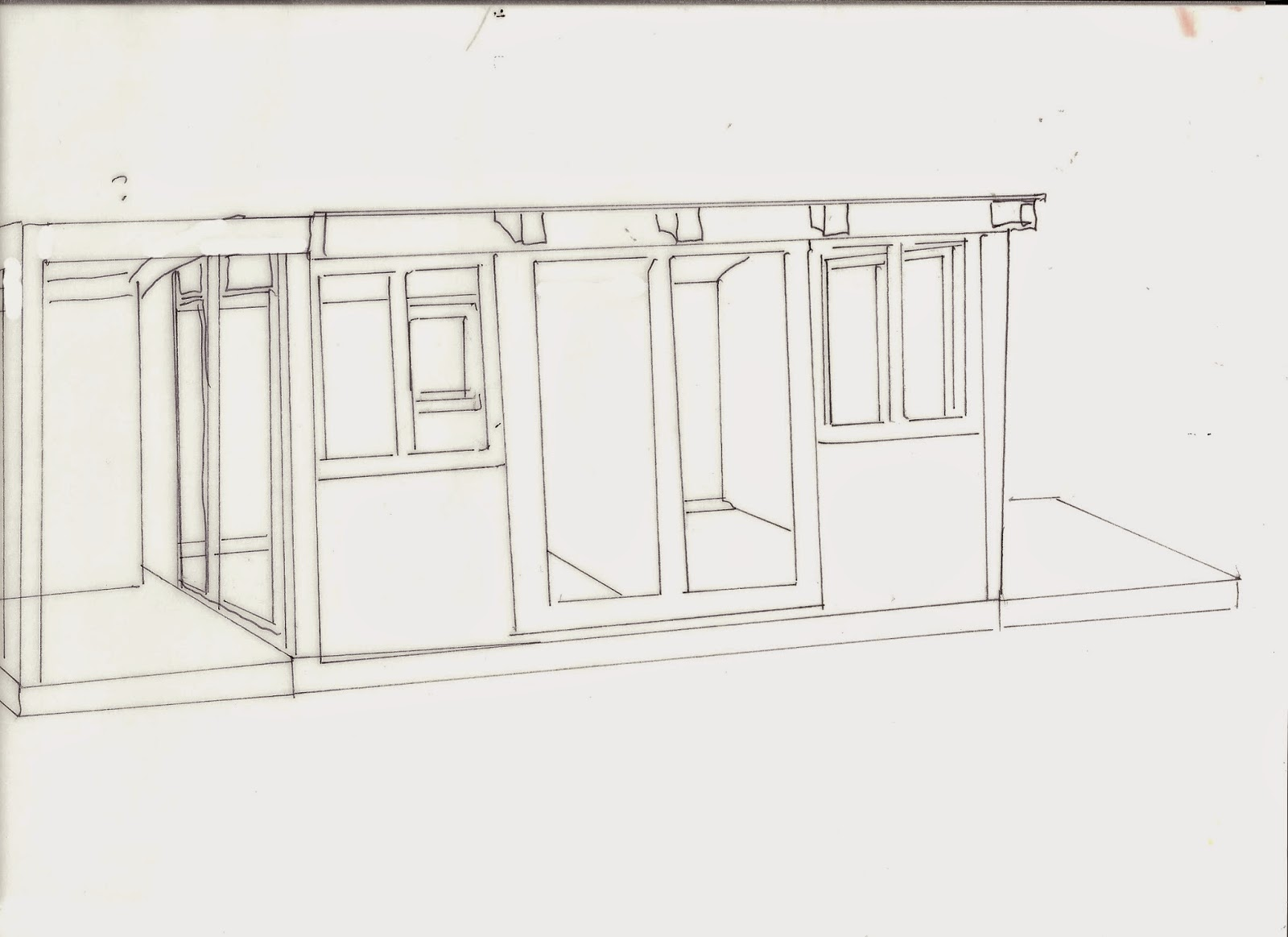 Outline of a shed split down the middle ,with two long windows and two short windows on the front and a deck on each side.
