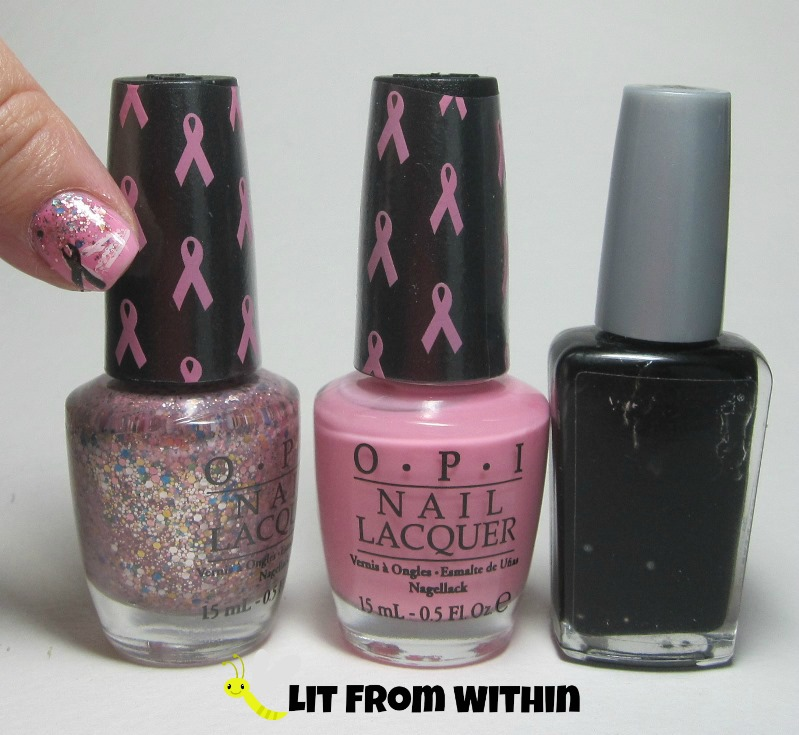 Bottle shot:  OPI More Than A Glimmer and Pink-ing of You, and Wet 'n Wild Black Creme.