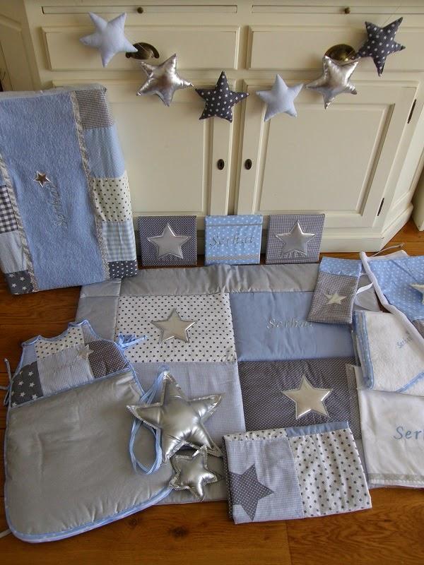 unieke babykamer sets: lichtblauw-grijs set met zilveren sterren, Deco ideeën