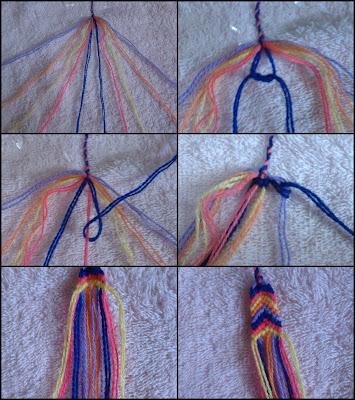 gelang yang sudah dibuat tadi menggunakan jarum dan benang biasa
