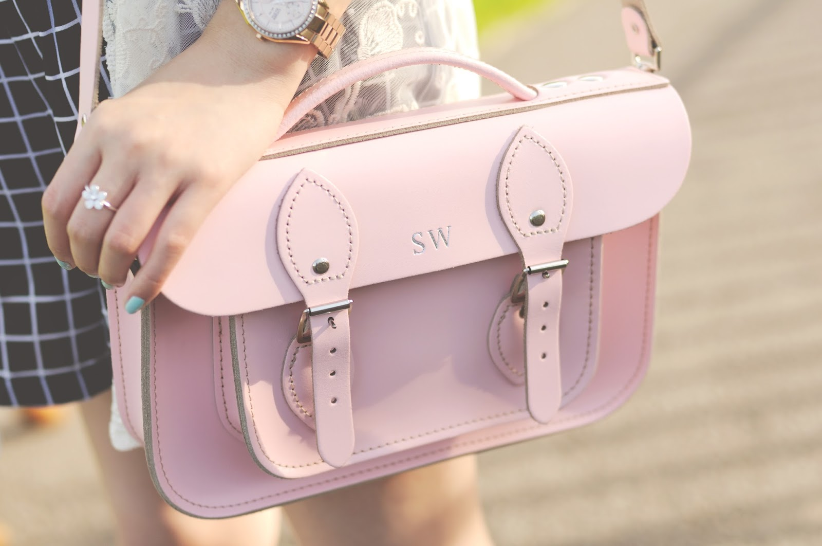 pink leather satchel, leather satchel company, monogram leather bag