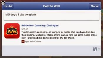Giới thiệu bạn bè tải và chơi iWin qua facebook nhận win miễn phí