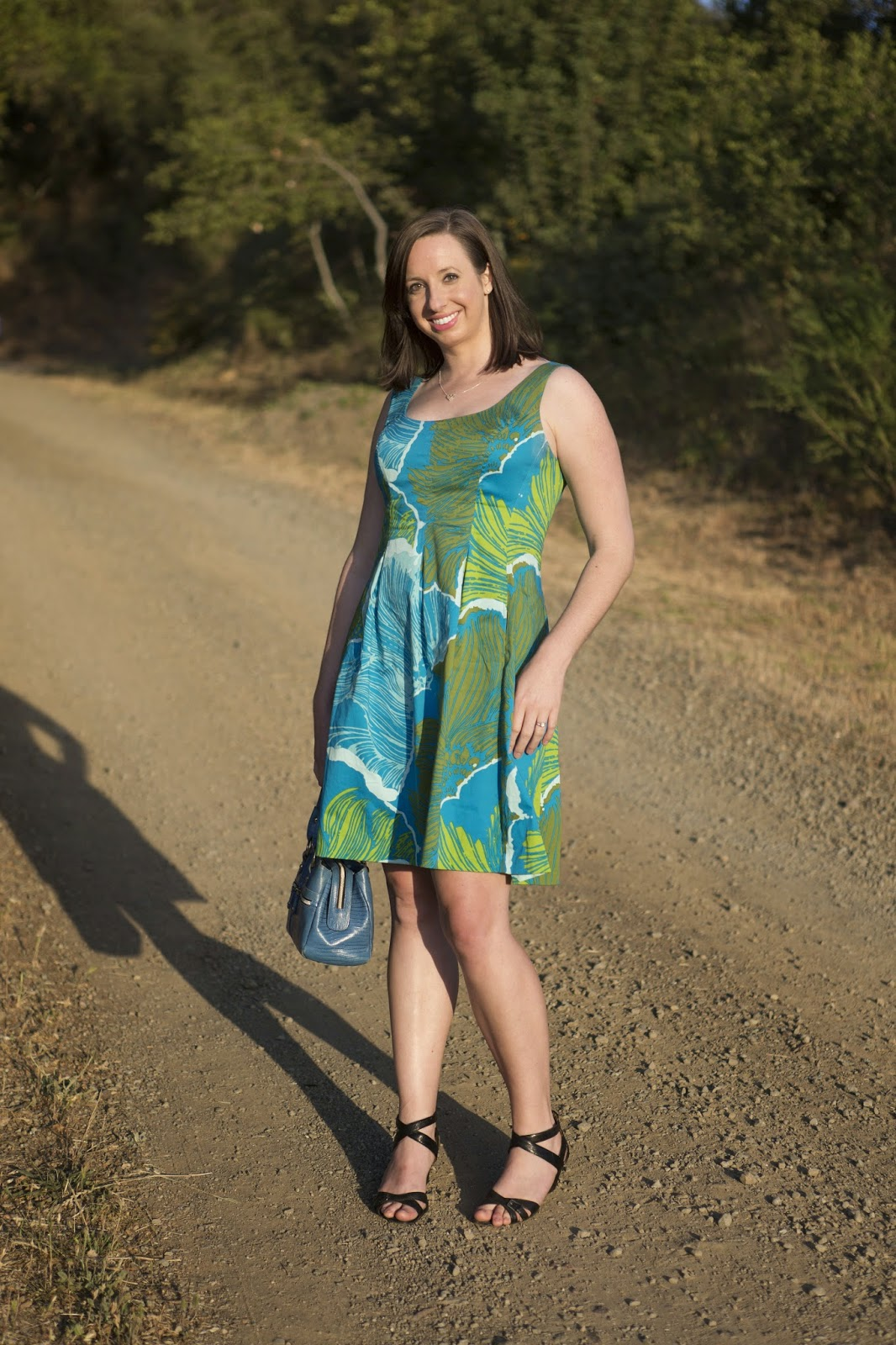Blue and green Hawaiian island style dress outfit