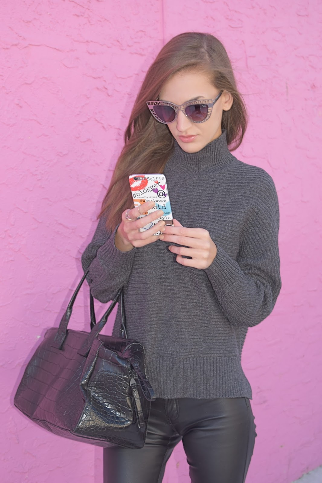 Loft Grey Knit oversized sweater, Case App Custom made phone case, Blank Denim Vegan Leather pants