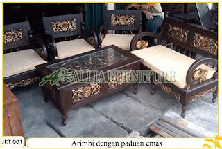 Kursi Tamu & Meja Set Ukiran Kayu Jati Arimbi dengan paduan emas