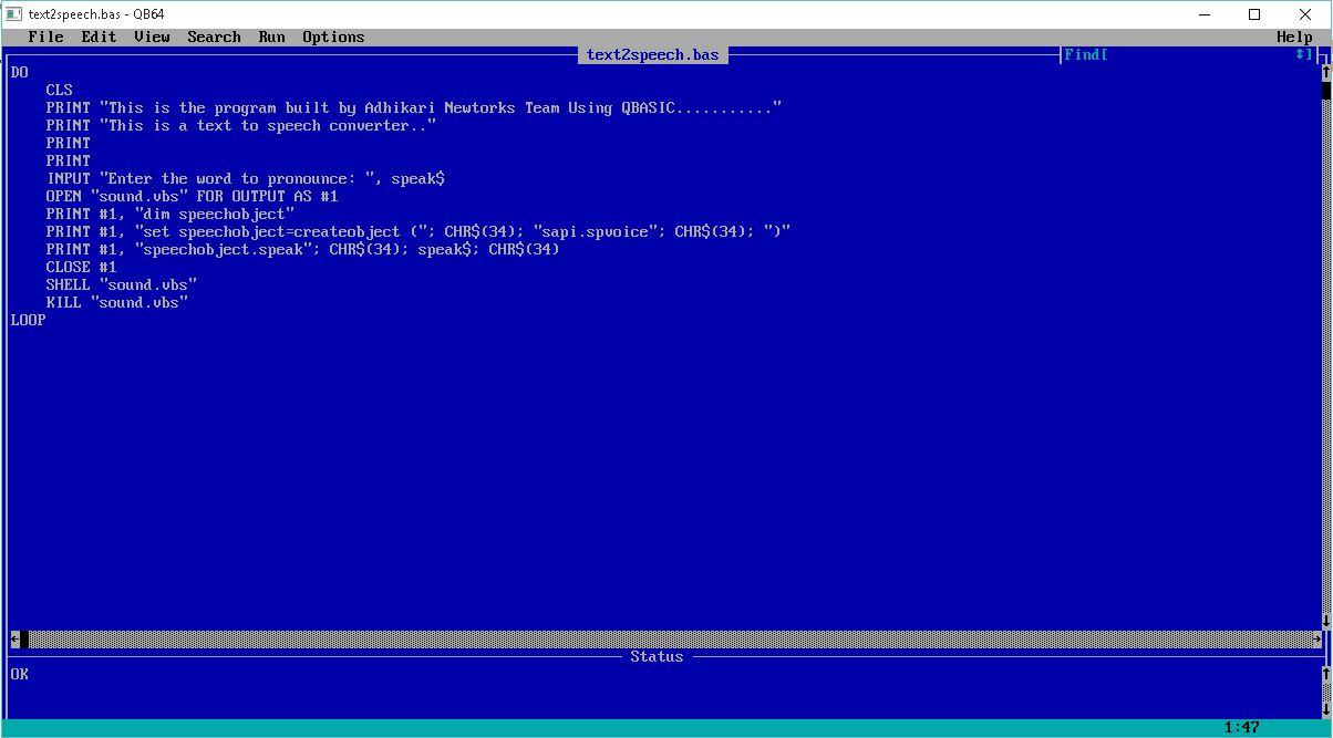 H aу для компьютера qbasic бе