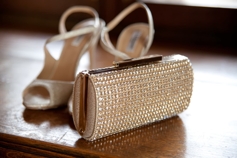 Golden glamour wedding inspiration, shoes and clutch bag