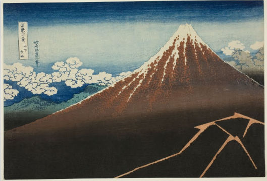 Shower Below the Summit (Sanka hakuu) From the series 36 views of Mount Fuji (Fugaku sanjurokkei) Katsushika Hokusai