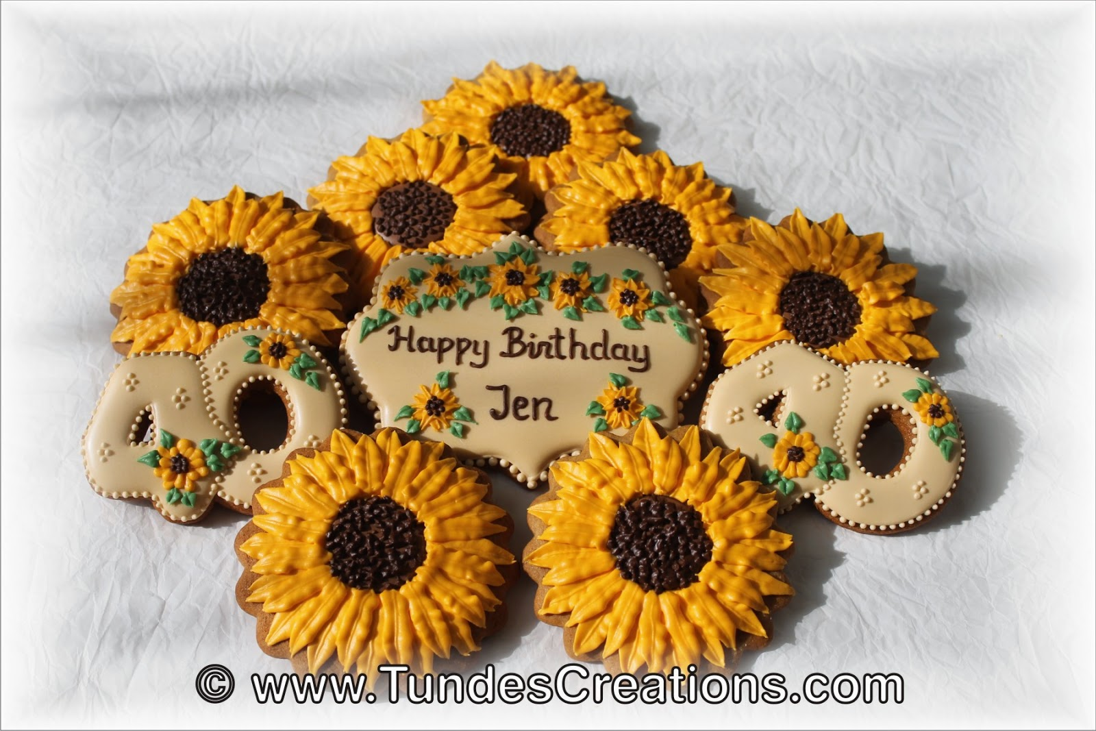 Sunflower birthday cookie set