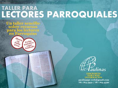 INVITACION: TALLER DE LECTORES PARROQUIALES INSCRIBETE!!!