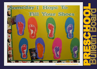 photo of: Father's Day Bulletin Board Idea from painted footprints