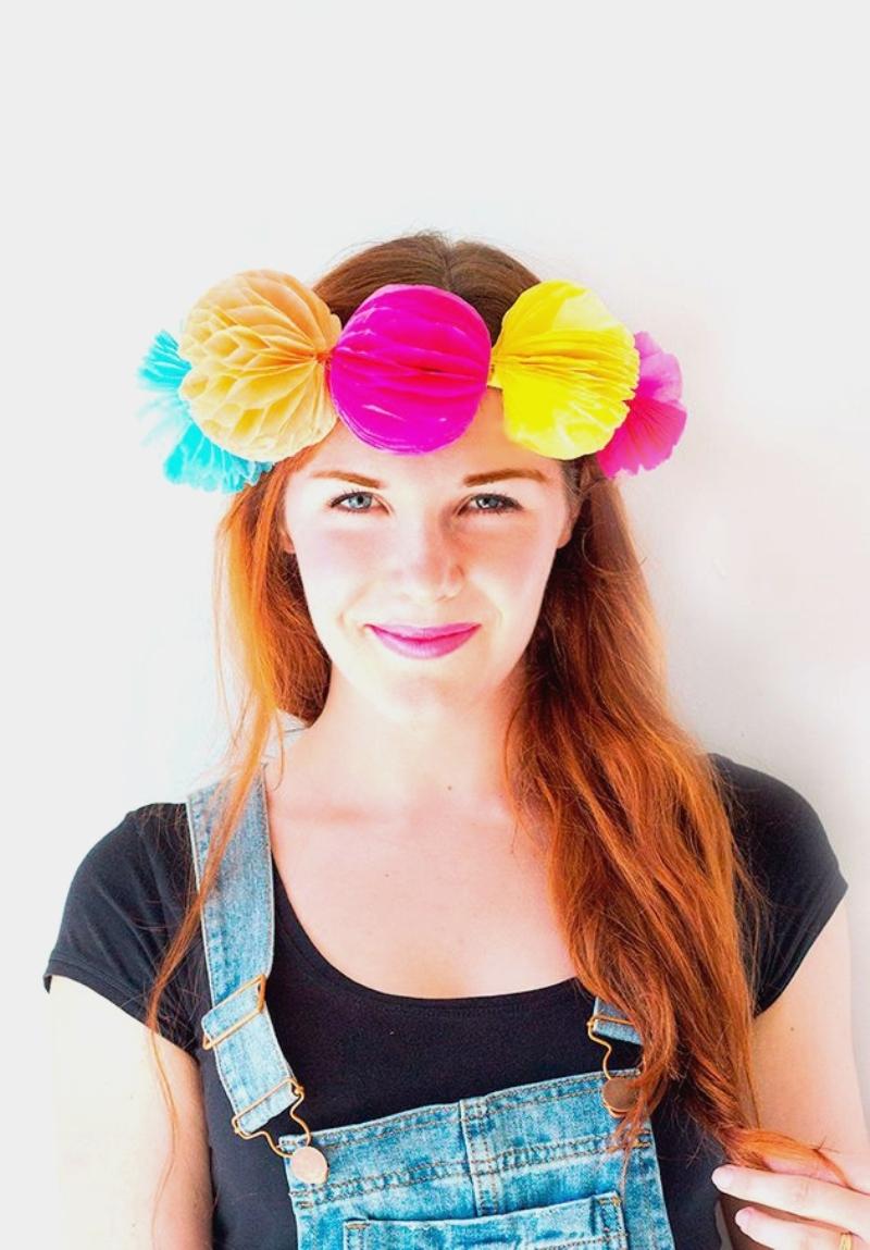Boules alvéolées DIY couronne de fleurs