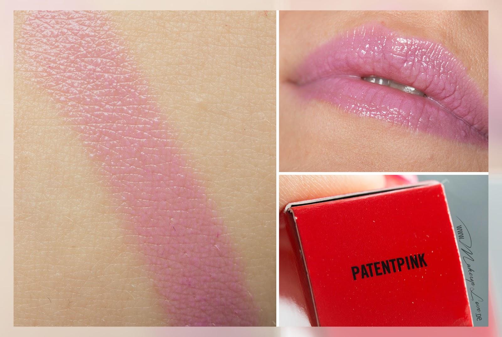 MAC Sharon Osbourne LE Patenpolish Lippencil Lippenstift Patentpink Swatch
