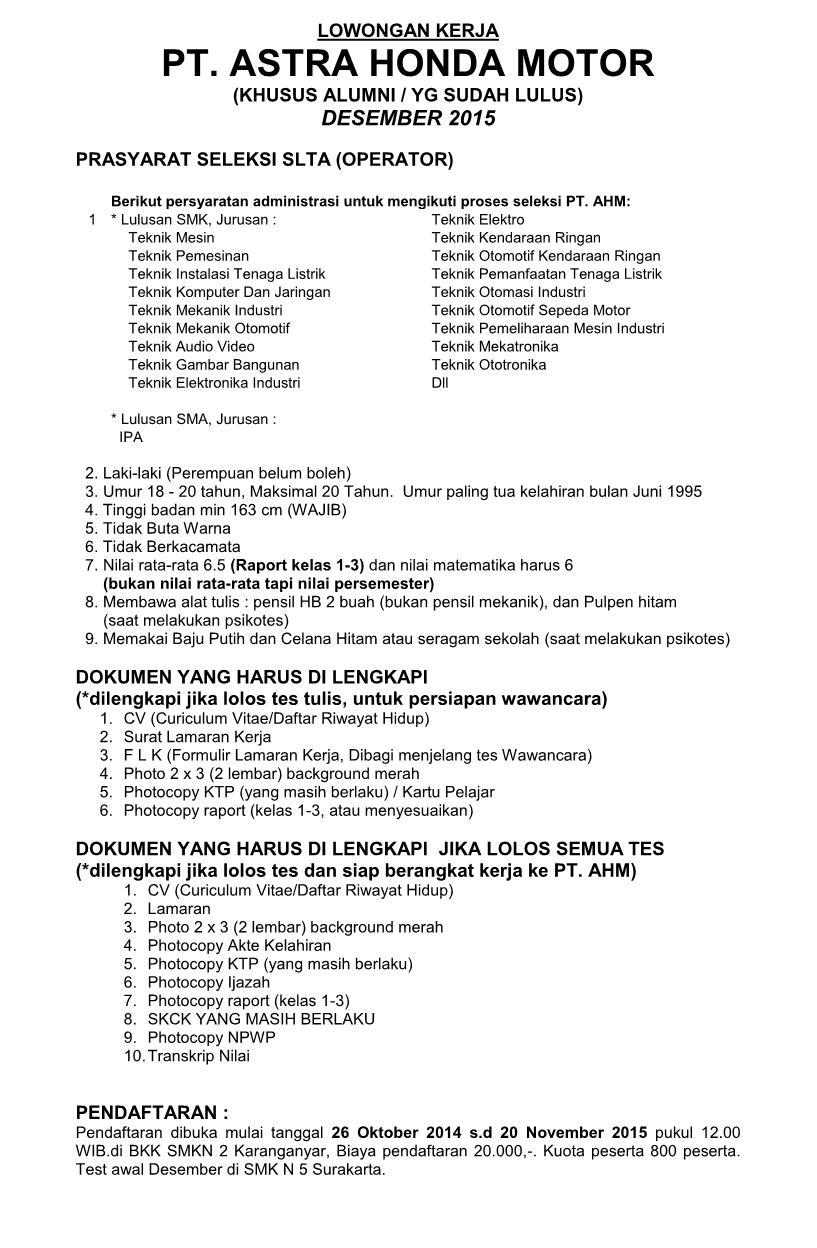 bkk ''karya tama'' smk negeri 2 karanganyar : lowongan pt. astra