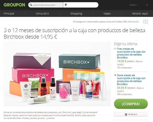 Oferta: BirchBox con Groupon!
