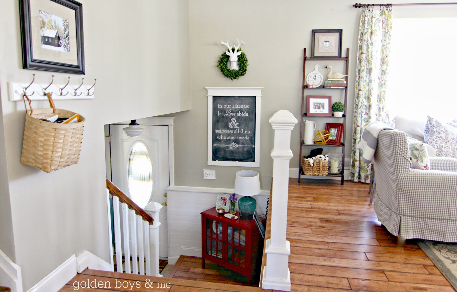 Spring decorating with diy window trim chalkboard and leaning ladder bookshelf-www.goldenboysandme.com