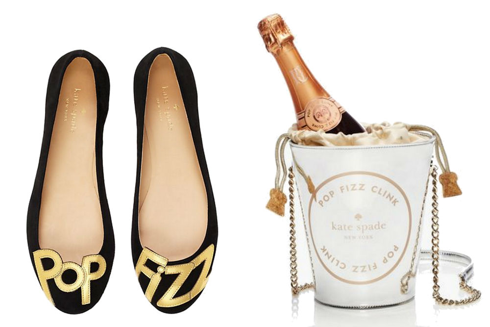 Kate Spade Toast Flats and Champagne Bucket Tote