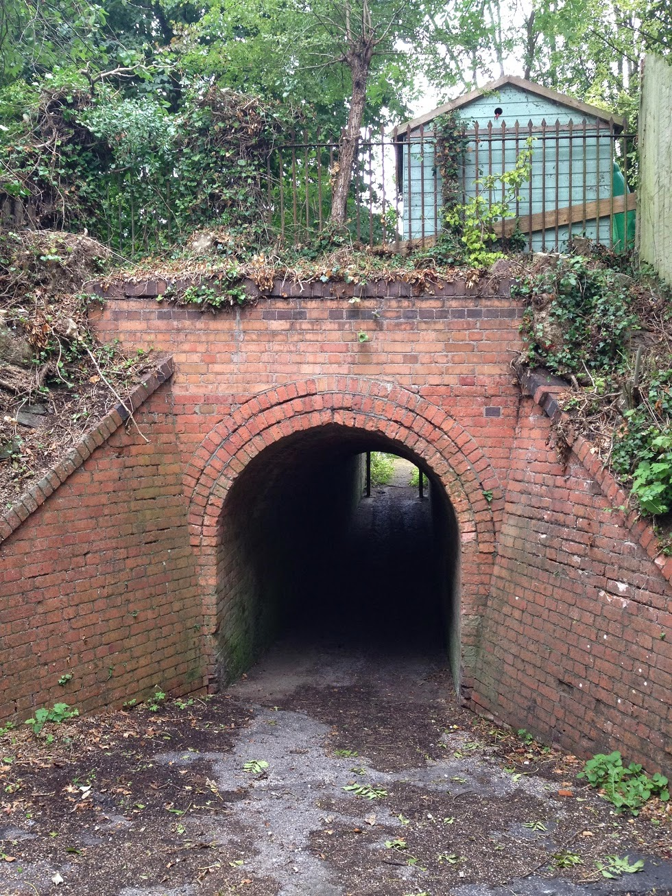 Pedestrian walkway under the former railway line, near Whitchurch Town station