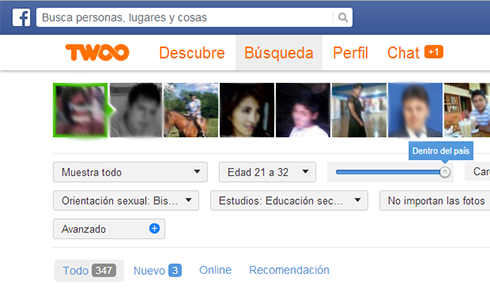 iniciar sesion Twoo desde Facebook