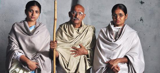 Dr Shikaripura Krishnamurthy as Mahatma Gandhi in Koormavatara Kannada Film