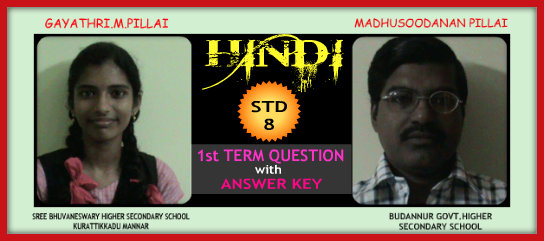 1st TERM QUESTION PAPER FOR HINDI   STANDARD 8