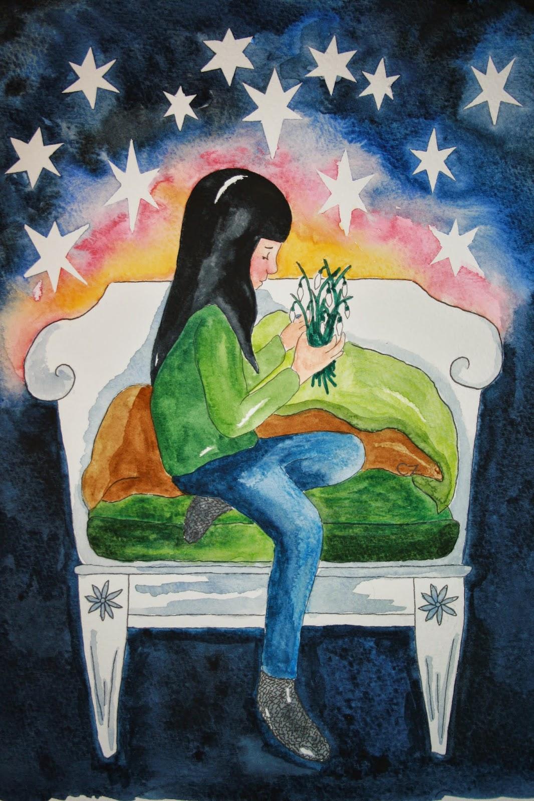 illustration carolin zander nyårskort akvarell