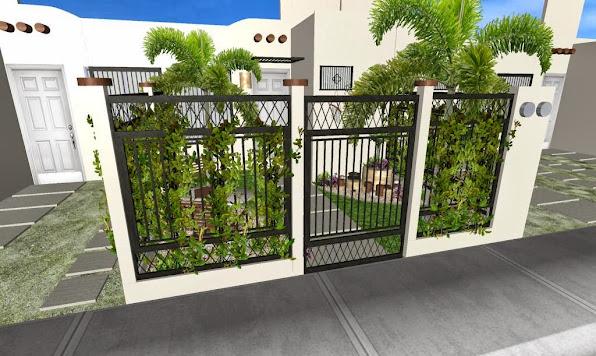 Dise o de un jard n peque o frente de una casa t pica de - Diseno jardines y exteriores 3d ...