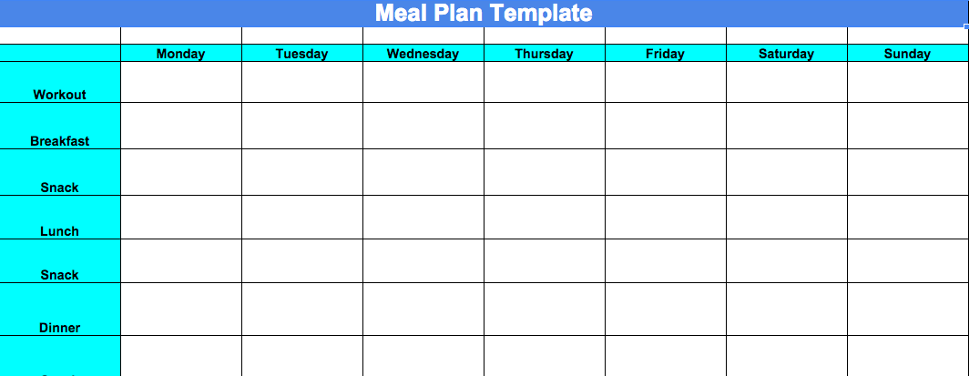 Blank Meal Plan Template, Printable Meal Plan template