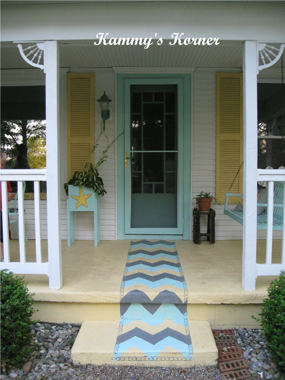 Kammy 39 s korner outdoor rug painted on cement for Concrete front porch paint ideas