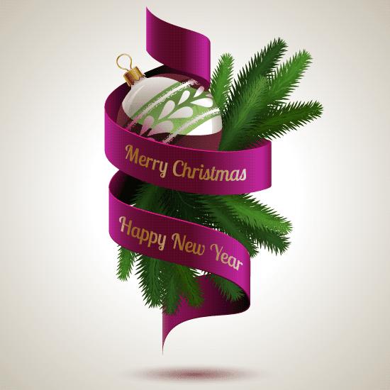 Adorno de Navidad con banda púrpura y letras doradas