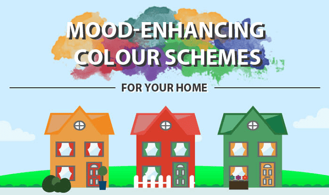 mood enhancing colour schemes for your home infographic