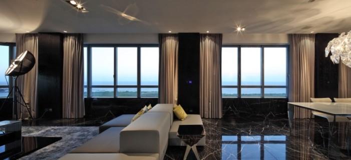 Hogares frescos departamento en torres del faro por for Piso de marmol negro