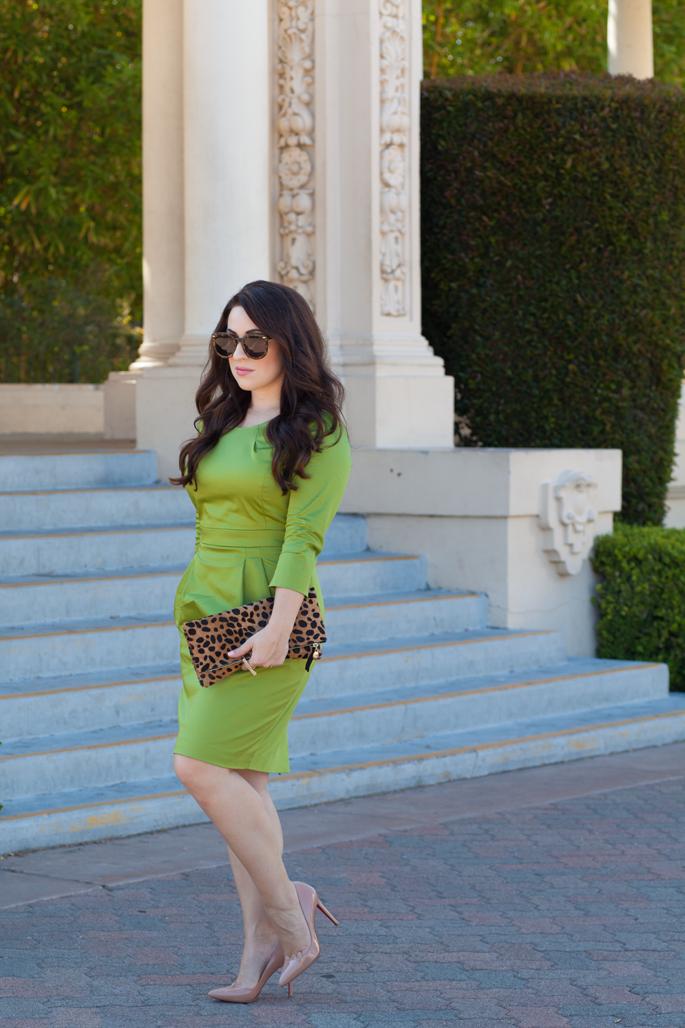 PIOL Dress Review, Green 3/4 sleeve Dress