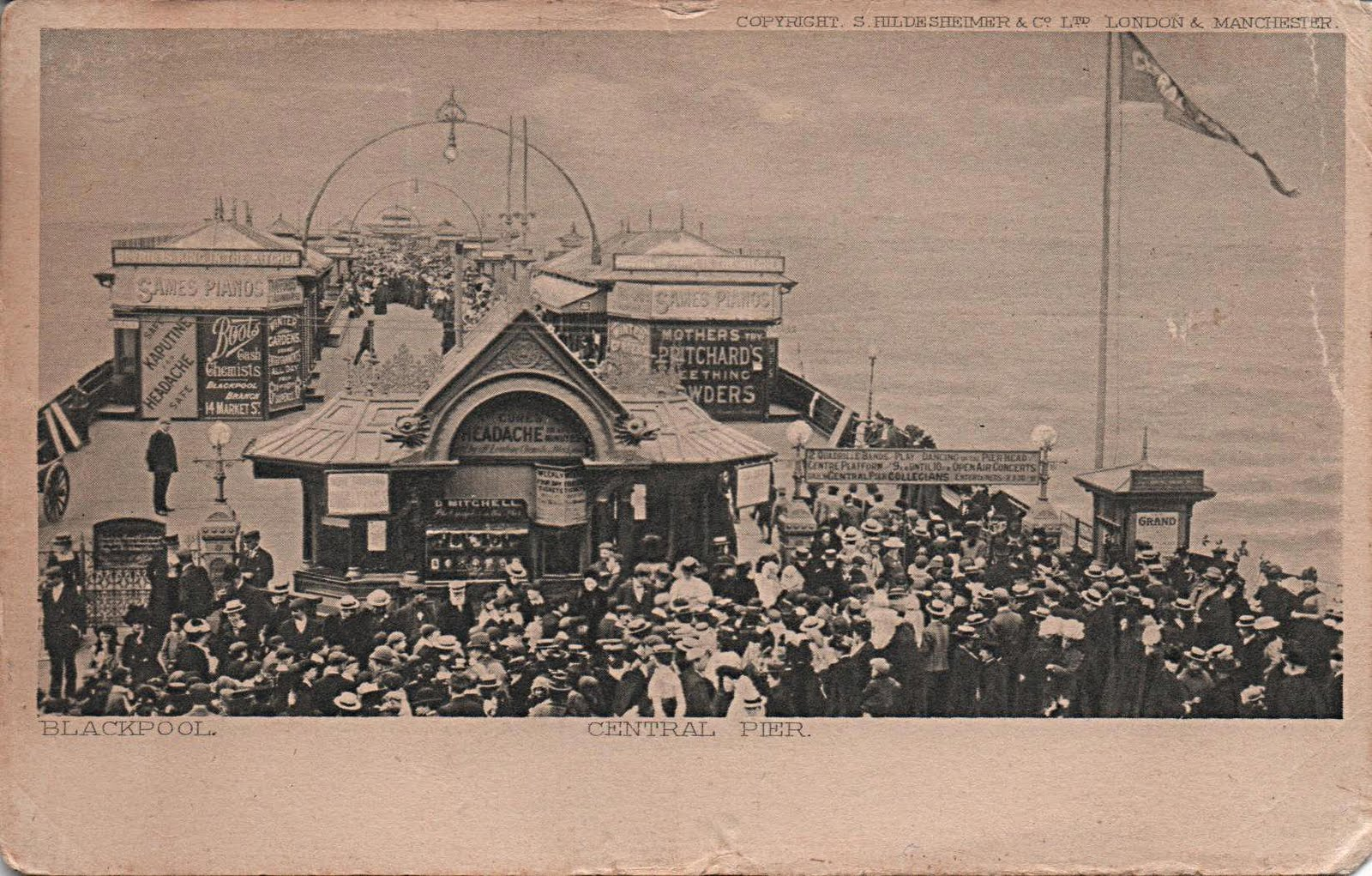 vintage postcard of Central Pier, Blackpool