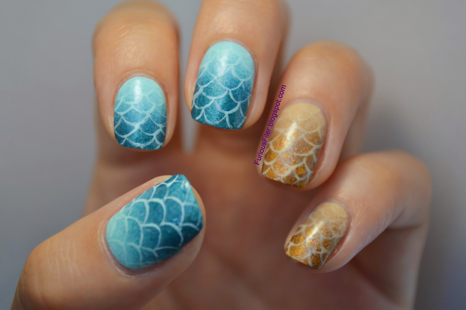 fish scales mermaid ombre nail art