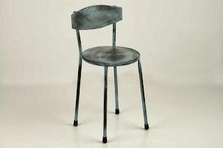 Silla Forja Dark Redonda Azul Desgastado, silla redonda forja, silla forja laton desgastada