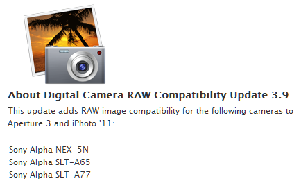 mac osx sony nex raw update