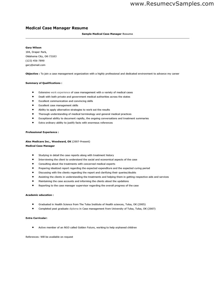 medical case manager resume manager resume summary by how to