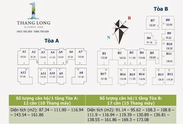 Mặt bằng phân bố diện tích Chung cư Thăng Long Number One -Viglacera