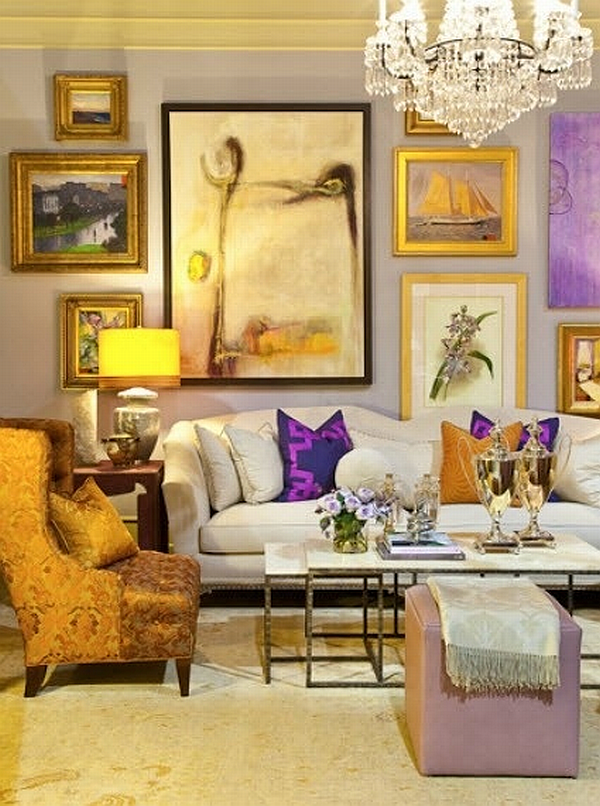 home gallery in a lilac and yellow living room