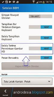 Fitur kirim Gambar HD BBM Android